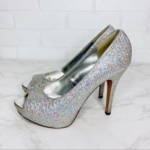 Worthington Holo Holographic Glitter Peep Toe Heel